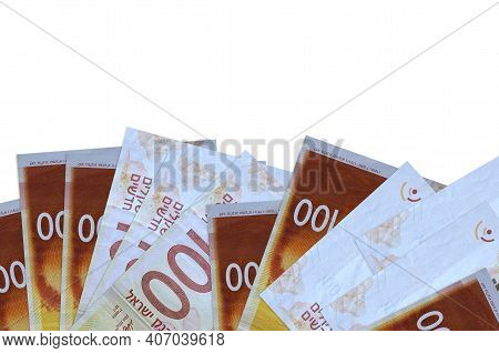 100 Israeli New Shekels Bills Lies On Bottom Side Of Screen Isolated On White Background With Copy S