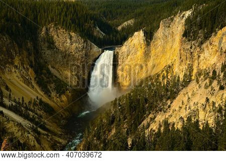 Lower Falls Of The Yellowstone River In Yellowstone National Park, Seen From Lookout Point On The No
