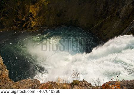 Above The Brink Of Upper Falls, Yellowstone River, In Yellowstone National Park