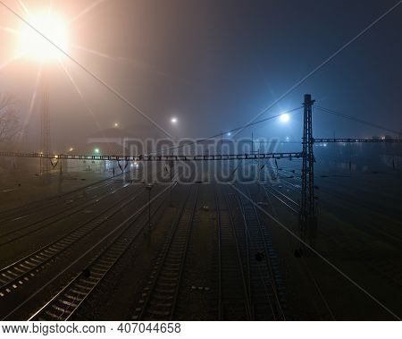 Chomutov, Czech Republic - January 03, 2021: Foggy Night On Train Station