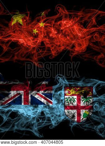 China, Chinese Vs Fiji, Fijian Smoky Mystic Flags Placed Side By Side. Thick Colored Silky Abstract