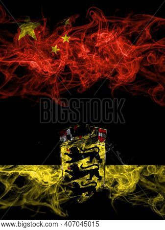 China, Chinese Vs Germany, German, Deutschland, Baden Wurttemberg Smoky Mystic Flags Placed Side By