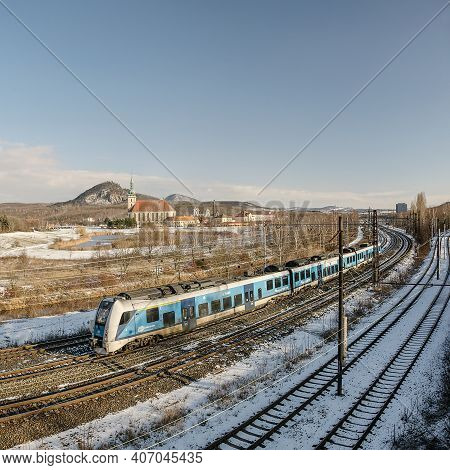 Most, Czech Republic - January 17, 2021: Train In Sunny Winter