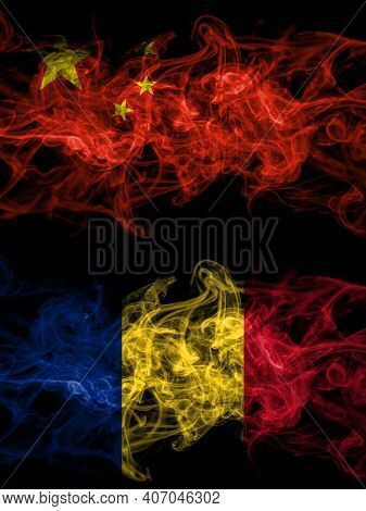 China, Chinese Vs Romania, Romanian Smoky Mystic Flags Placed Side By Side. Thick Colored Silky Abst