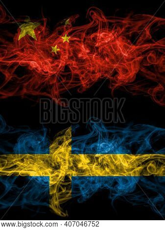 China, Chinese Vs Sweden, Swedish Swede Smoky Mystic Flags Placed Side By Side. Thick Colored Silky