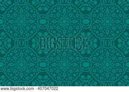 Beautiful Colorful Illustration With Aquamarine Eastern Tile Seamless Pattern