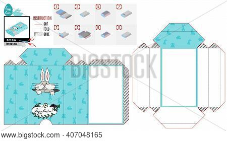 Casket Box Template For Easter. Curious Rabbit Peeking Out Of The Mink