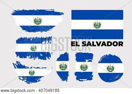Flag Of El Salvador Country. Happy Independence Day Of El Salvador Background