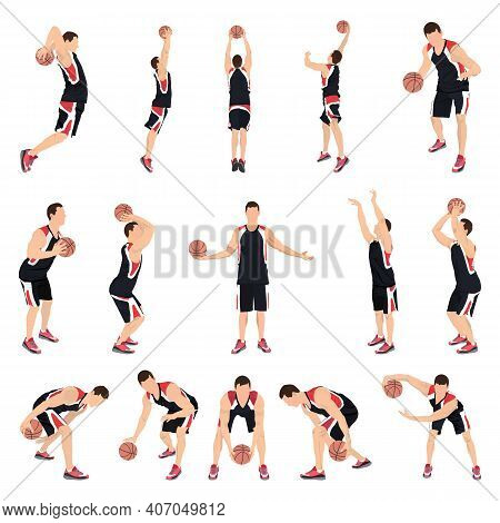 Basketball Player Set, Vector Isolated Illustration. Professional Athletes Dribbling, Bouncing, Pass
