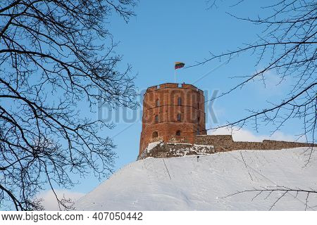 Gediminas' Tower, The Remaining Part Of The Upper Castle In Vilnius, Lithuania. The Main Symbol Of T