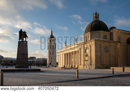 Vilnius, Lithuania - February 6, 2021: The Cathedral Basilica Of St. Stanislaus And St. Ladislaus Of