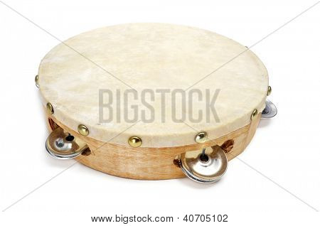 closeup of a pandereta, the spanish tambourine, on a white background