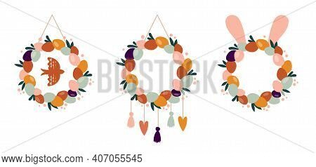 Boho Easter Concept Design, Easter Home Decor, Wreath Set With Bunnies, Eggs, Flowers And Rainbows I