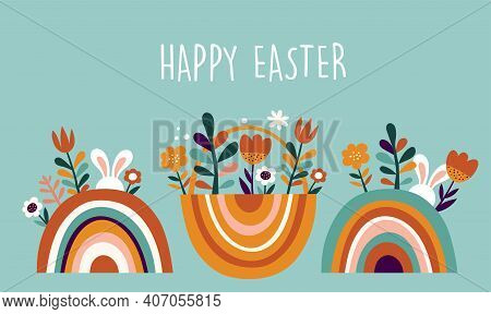Boho Easter Concept Design, Bunnies, Eggs, Flowers And Rainbows In Pastel And Terracotta Colors, Fla