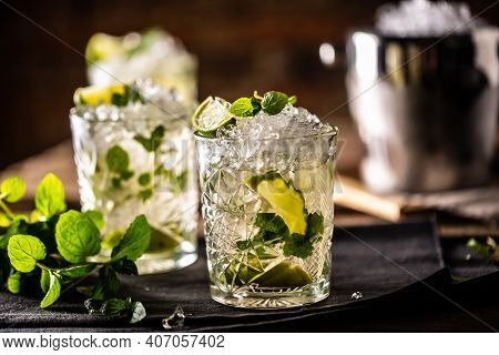 Mojito Or Virgin Mojito Long Rum Drink With Fresh Mint, Lime Juice, Cane Sugar And Soda