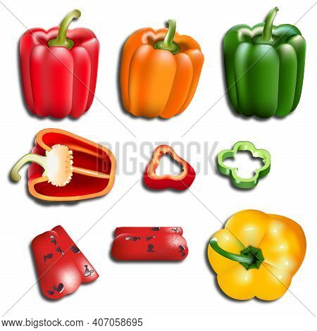Set Of Colored Bright Yellow Green Orange And Red Sweet Bulgarian Bell Peppers With Shadow, Sliced,
