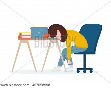 Professional Burnout. Tired Worker Sitting At The Table. Flat Vector Illustration.