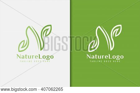 Abstract Initial Letter N Logo Design. Letter N Is Formed From A Combination Of 2 Green Leaf Lines.