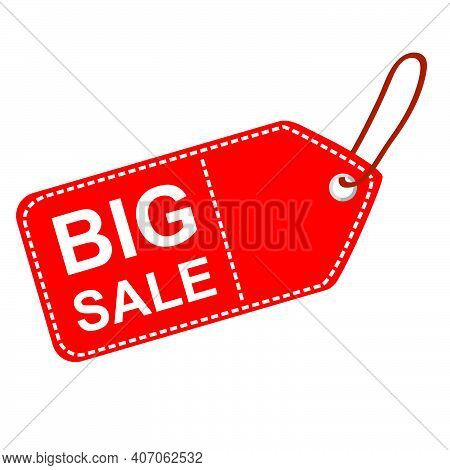 Vector Red Rectangle Blank Tag With Big Sale Text, White Dash Outline