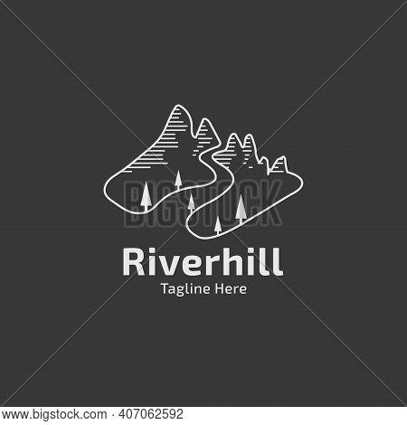 Hill With Creek Illustration Logo Design Line Art Vector Template