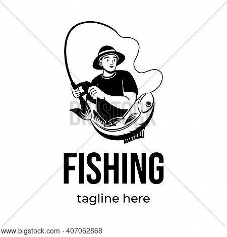 Fishing Logo Design. Fisherman Catching Fish With Fishing Rod Vector Emblem. Fishing Sport, Summer V