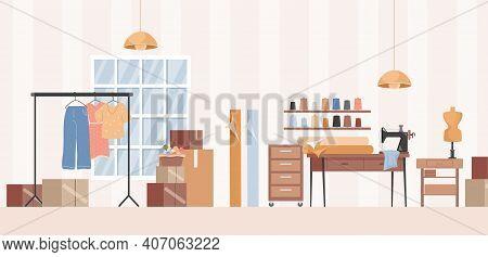 Sewing Workshop, Dressmaker Studio, Or Clothes Atelier Interior Design Vector Flat Illustration. Sew