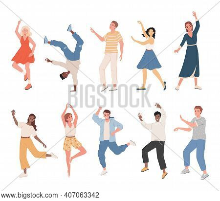 Set Of Smiling People In Casual Clothes Dancing, Feeling Positive Emotions Vector Flat Illustration.