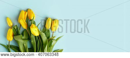Yellow Tulip Flowers Bouquet On Blue Background. Flat Lay, Top View, Copy Space. Banner For Seasonal