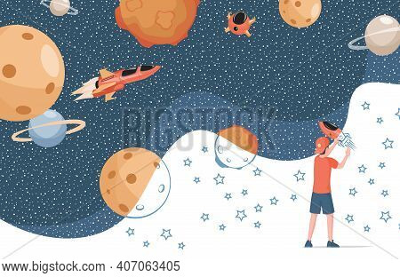 Boy In Modern Clothes Drawing Cosmos, Planets, Spaceships And Stars Vector Flat Illustration. Cute C