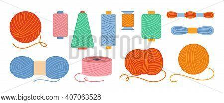 Sewing Threads Yarn Cartoon Set Spool Wool Vector