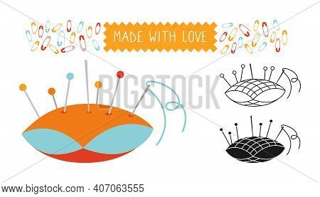 Sewing Needle Bed Set Line Icon Needles Pin Vector
