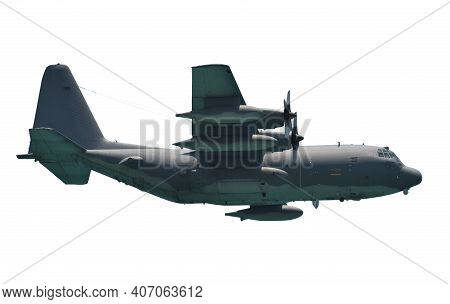 Air Force Cargo Airplane In Flight Side View Isolated On White