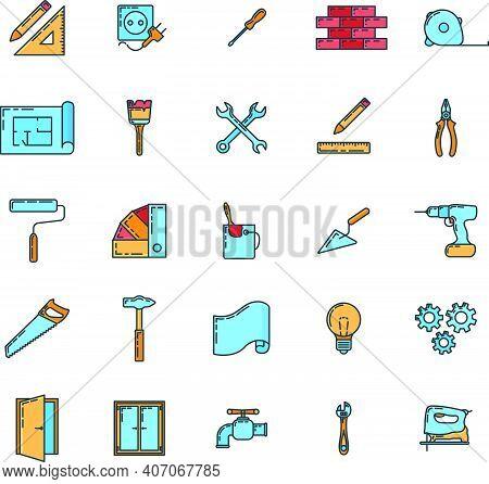 Big Set Of Renovation House 25 Icon, Concept Repair Build Tool Stuff, Instrument Toolkit Line Art Fl