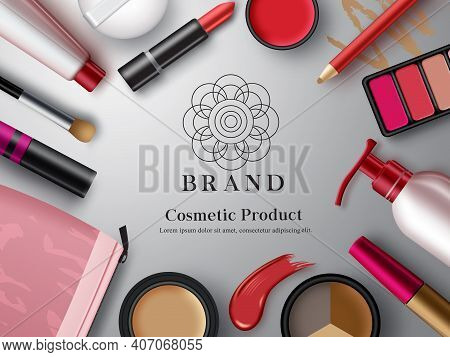 Cosmetic Mock Up Products Vector Banner Template. Make Up Cosmetics Product With Eye Shadow Pallete,