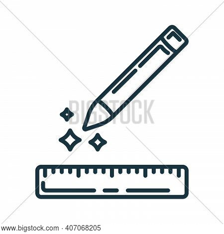 Concept Pencil, Wooden Ruler Icon, Writing Pen And Measuring Utensils Stuff For Drawing Flat Line Ve