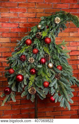 Sparkling And Fairy Background. New Year Holiday. Beautiful Christmas Tree With Colorful Baubles And