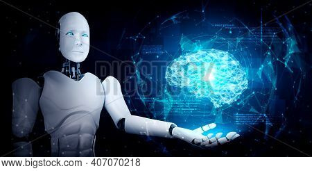 Ai Humanoid Robot Holding Virtual Hologram Screen Showing Concept Of Ai Brain And Artificial Intelli