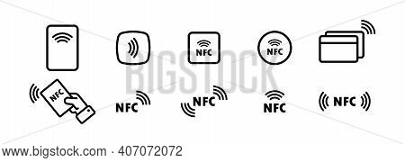 Nfc Icon Set. Contactless Payment Icon. Wireless Pay. Credit Card. Vector Eps 10. Isolated On White