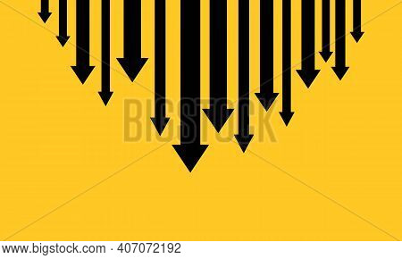 Down Arrows Banner. Financial Crisis, Money Loss, Economy Reduction. Business Concept. Vector Eps 10
