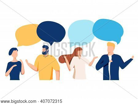Vector Illustration, Flat Style, People Talk. People With Thoughts On A White Background, Vector.