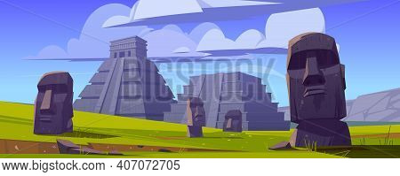 Moai Statues And Pyramids, Republic Of Chile Travel Famous Landmarks Stone Heads On Green Field Of E