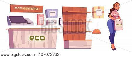 Eco Cosmetics Shop Furniture And Woman Seller Isolated On White Background. Vector Cartoon Set Of Be