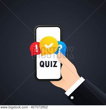 Quiz Banner. Hand Holding Phone With Message Box With Question Mark Icon. Vector On Isolated White B