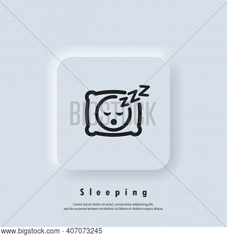 Sleeping Icon. Pillow. Sleep. An Image Of A Person Having A Dreamful Slumber In Bed On A Pillow With