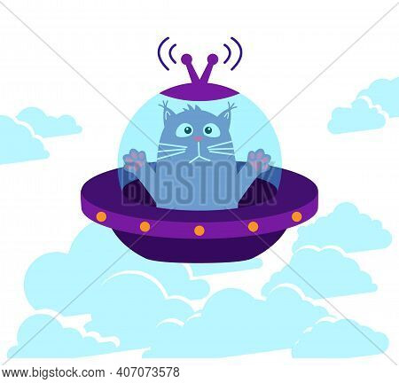 Space Cat. Frightened Cat Flies In A Flying Saucer Above The Clouds.