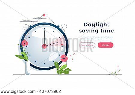 Daylight Saving Time Web Template. The Clocks Moves Forward One Hour To Daylight-saving Time. Floral
