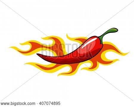 Hand drawn chili pepper. Super hot red chilli pepper in fire. Chili pepper in flame on white background. Natural healthy food. Spicy ingredient