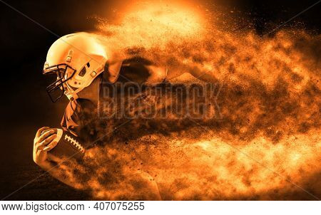 American football sportsman player with ball in action on stadium under lights of background. Sport, proud footballer in white helmet and red t-shirt ready to play.