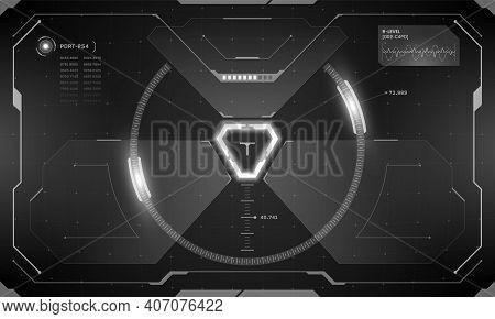 Vr Hud Futuristic Interface Cyberpunk Control Panel Screen Black Design. Sci-fi Virtual Reality Targ