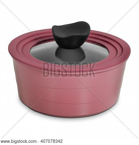 Pan With Transparent Glass Lid And Burgundy Rubber Rim Isolated On White Background
